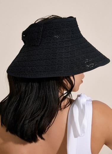 Morhipo Beach Dantel Detaylı Bej Hasır Şapka Siyah